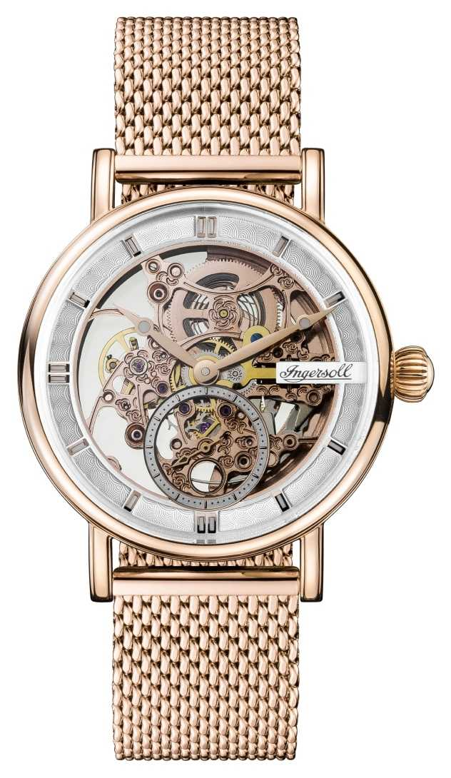 Ingersoll Mens Herald Automatic Rose Gold PVD Plated Mesh Bracelet I00406