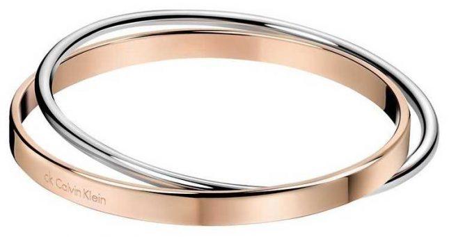 Calvin Klein Ladies Rose Gold Silver Bangle KJ63BB01010S