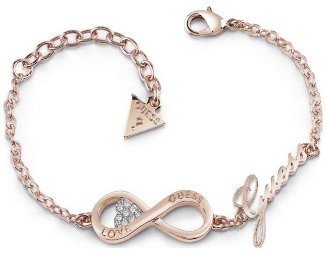 Guess Ladies Rose Gold Plated Endless Love Infinity Heart Bracelet UBB85066-L
