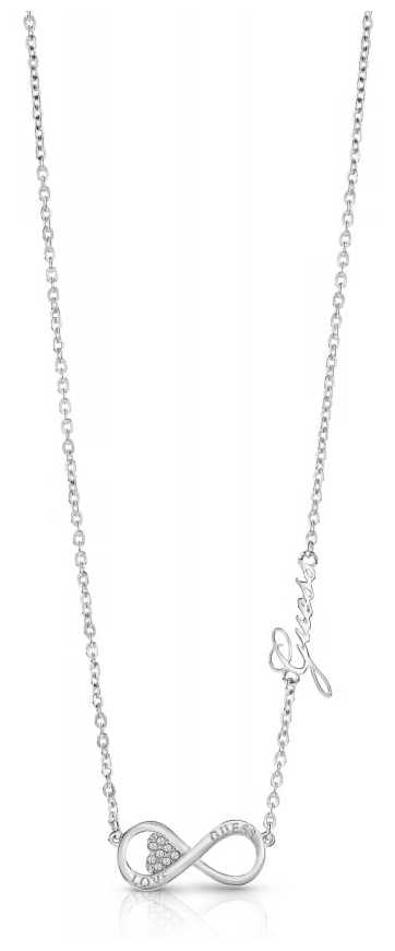 Guess Ladies Silver Plated Endless Love Infinity Necklace UBN85012
