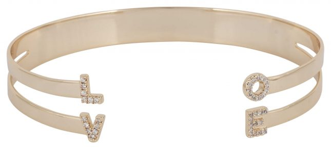 """Mya Bay Gold PVD Plated """"love"""" Bangle With Stones JC-LO-01.G"""