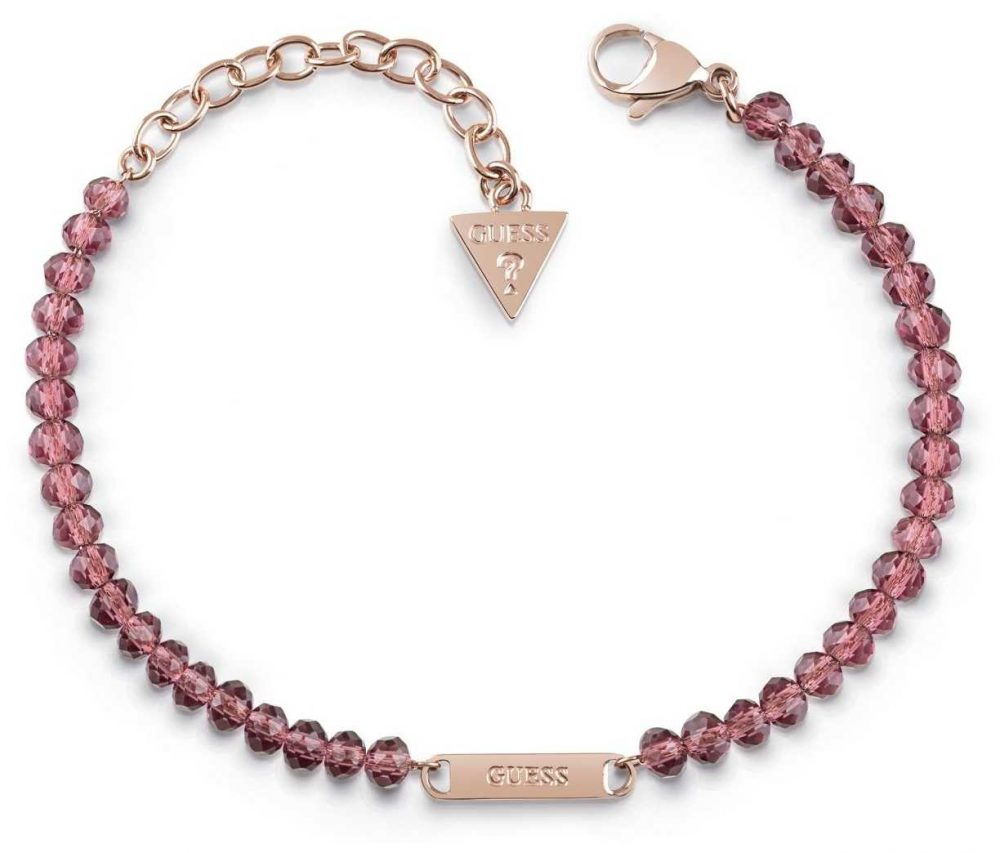 Guess Uptown Chic Pink Bead Logo Bracelet UBB28044-L
