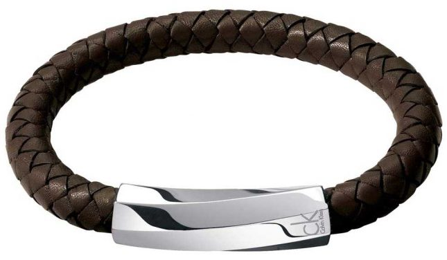 Calvin Klein Men's Bewilder Brown Leather Twisted Bracelet KJ2BCB09010M