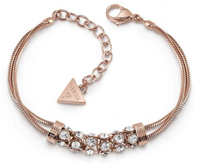 Guess Glitter Girl Rose Gold Plated Crystal Bar Double Bracelet UBB28063-L