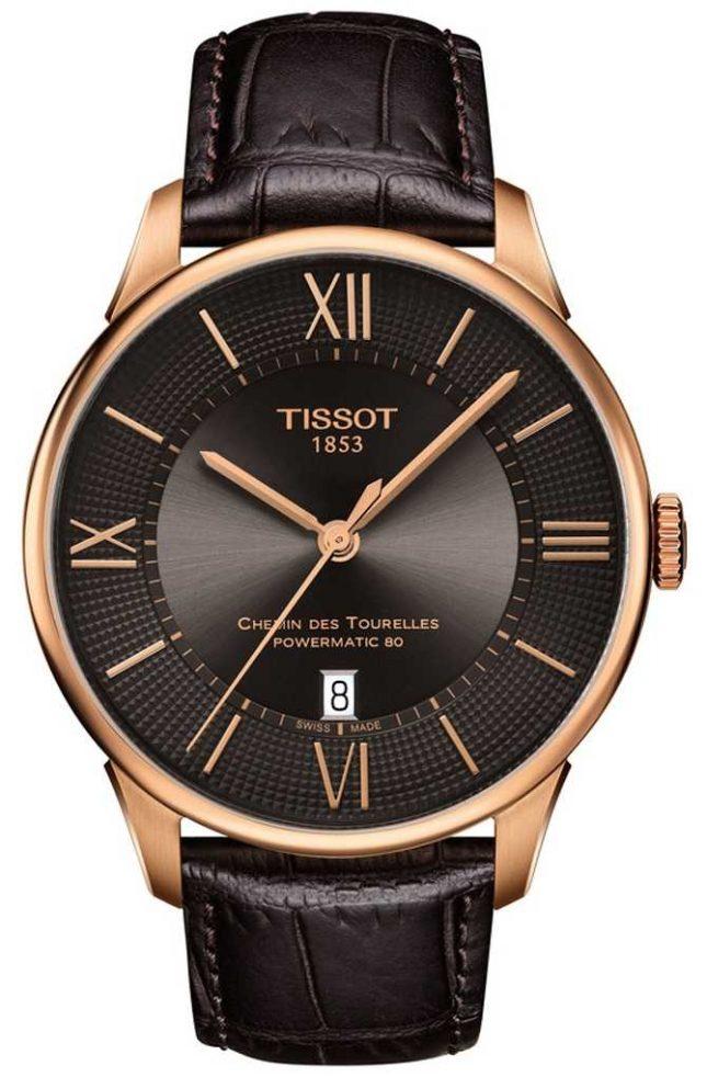 Tissot Mens Chemin Des Tourelles Brown Leather Strap Rose Gold Case T0994073644800