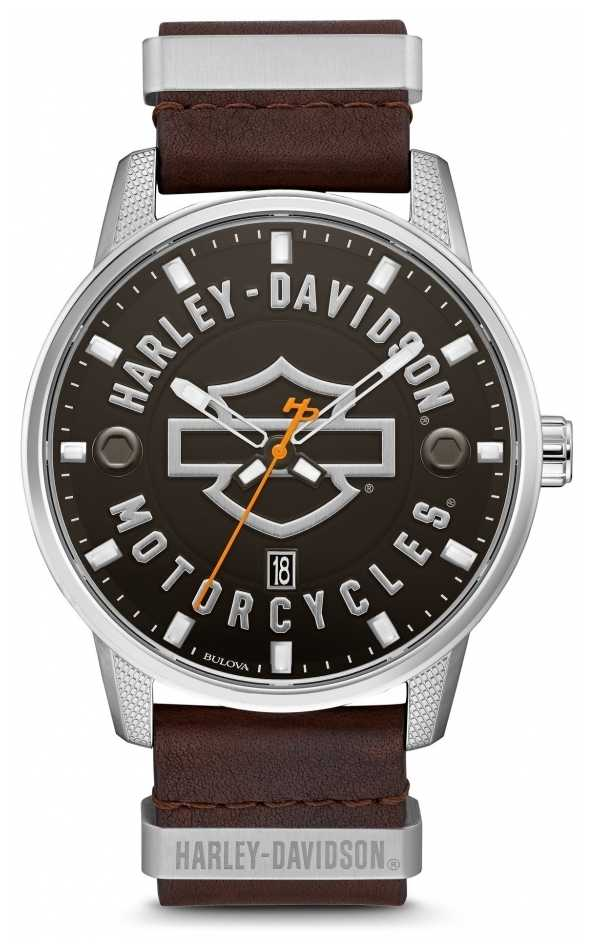 Harley Davidson Men's Brown Leather Strap HD Branded Dial 76B178