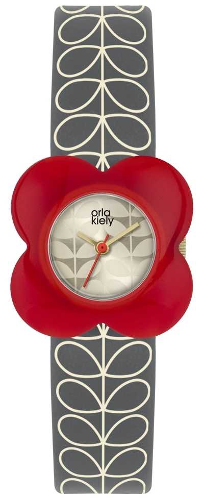 Orla Kiely | Ladies Poppy Watch | Red Case | Grey Stem Print Strap | OK2282