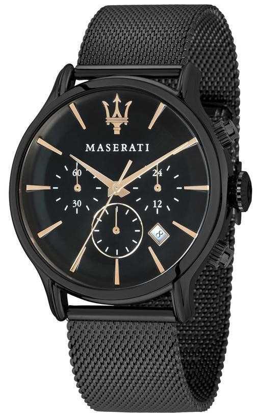 Maserati Mens Epoca 42mm   Black Dial   Black Mesh Bracelet R8873618006