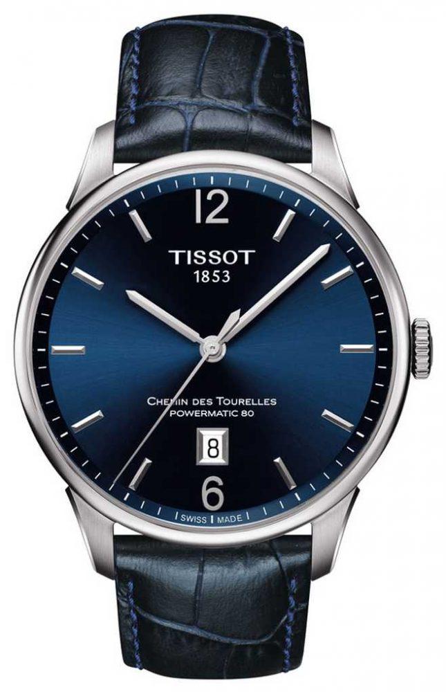 Tissot Mens Chemin Des Tourelles Blue Leather Strap Blue Dial T0994071604700