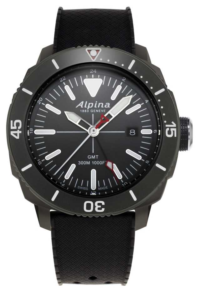 Alpina Mens Seastrong Diver GMT Black Rubber Strap AL-247LGG4TV6