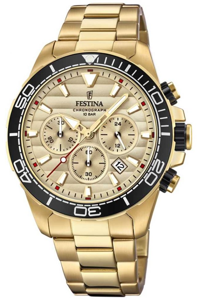 Festina Mens Gold Stainless Steel Chronograph Gold Dial F20364/1