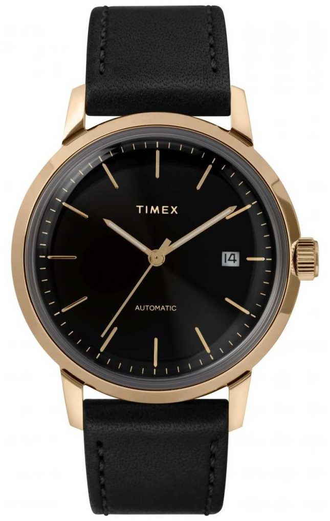 Timex Marlin Mens Automatic Black Leather Strap Watch TW2T22800