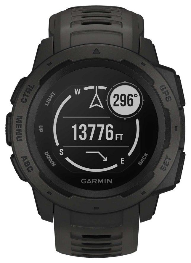 Garmin Instinct Graphite Outdoor GPS Silicone Strap Grey 010-02064-00