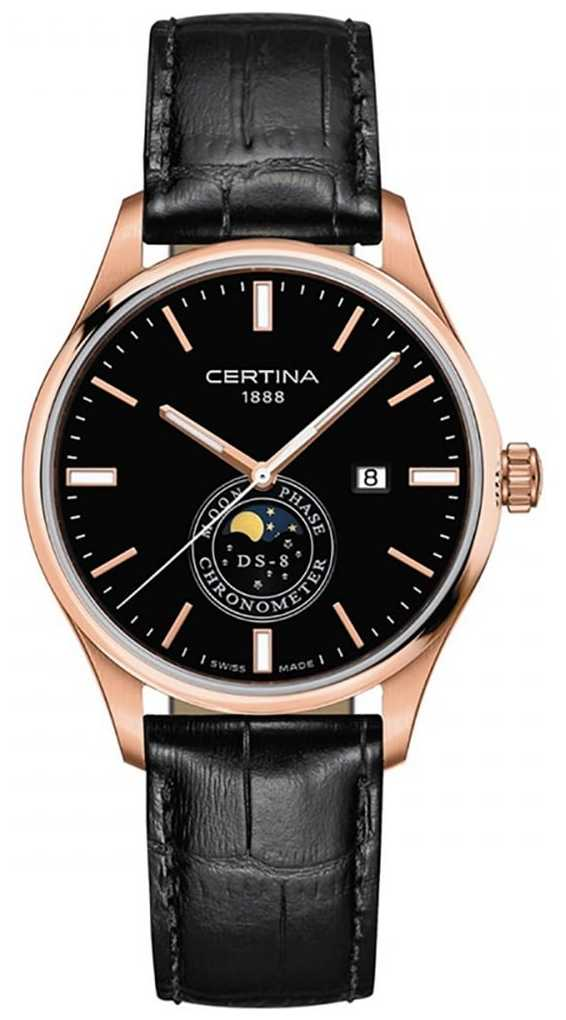 Certina Men's DS-8 | Black | Rose Gold | Moonphase Watch C0334573605100