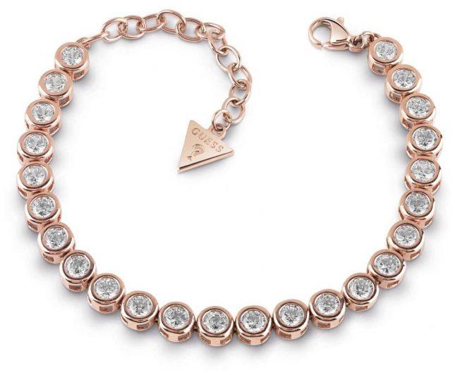 Guess Glitter Girl Rose Gold Plated Crystal Tennis Bracelet UBB28128