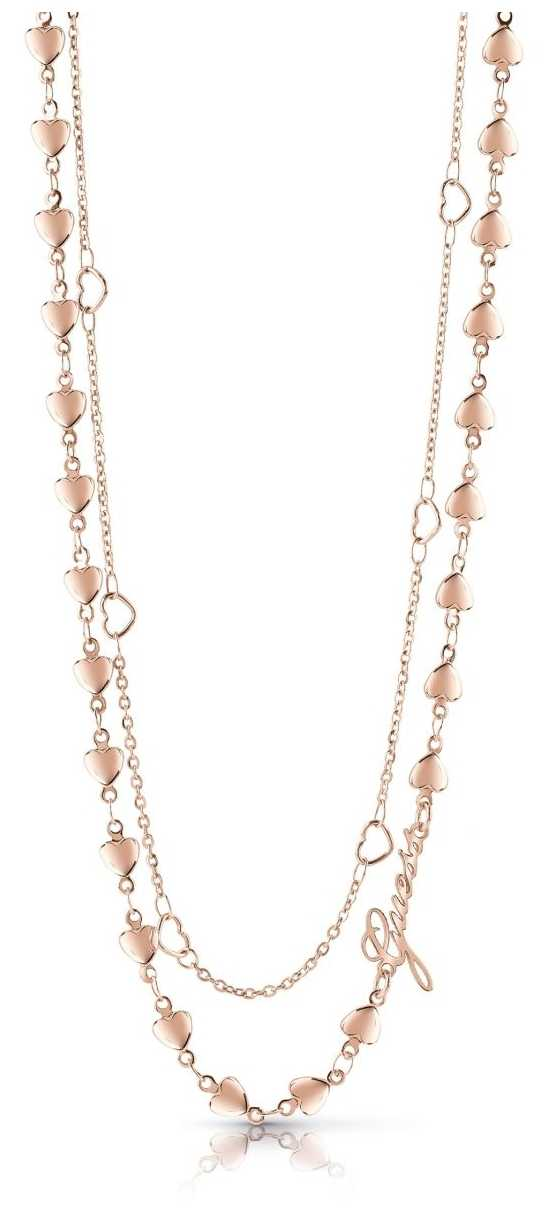 Guess Shine On Me Four Multi-Heart Necklace Rose Gold UBN28002