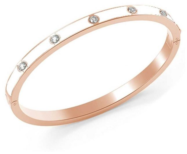Guess My Gift For You Rose Gold White Crystal Bangle UBS28007-L