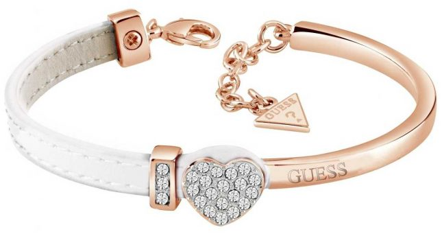 Guess My Gift For You Pave Heart Rose Gold White Bracelet UBS28021