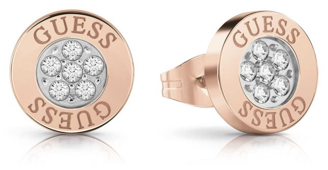 Guess | Love Knot | Crystal Button Earrings | Rose Gold | UBE78024