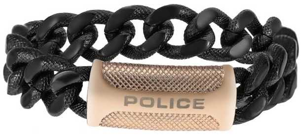 Police Mens Black Rose Gold PVD Plated Bracelet 25508BSB/05-L