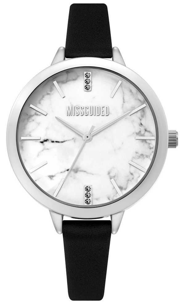Missguided | Ladies Black Leather Watch | White Marble Dial | MG011BS
