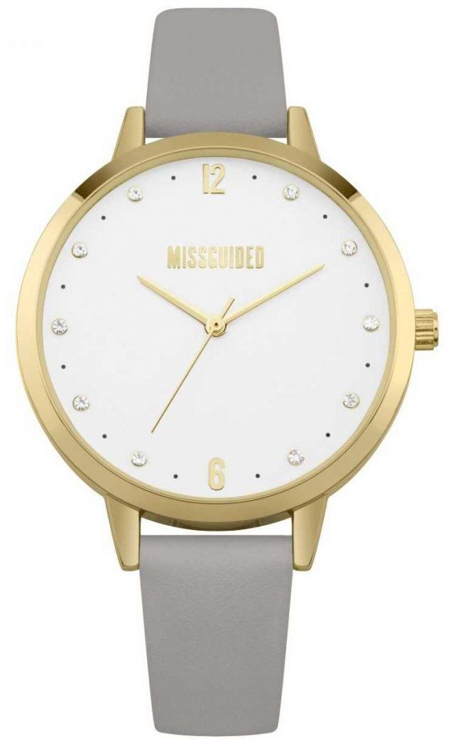 Missguided | Ladies Watch | Grey Leather Strap Gold Case | MG010EG