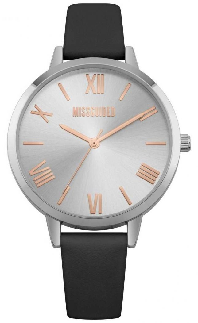 Missguided | Ladies Watch | Black Leather Strap Silver Dial | MG001B