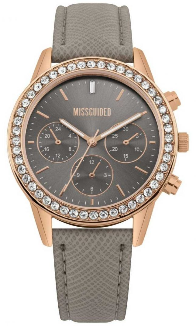 Missguided | Ladies Watch | Grey Leather Strap Rose Gold Case | MG002ERG