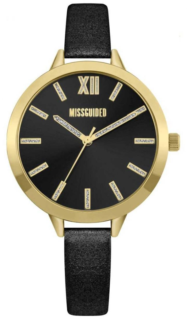 Missguided | Women's Black Leather Strap | Black Dial | MG005BG