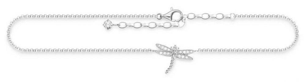 Thomas Sabo Dragonfly Anklet 925 Sterling Silver/ Zirconia White 22-27cm AK0010-051-14-L27V
