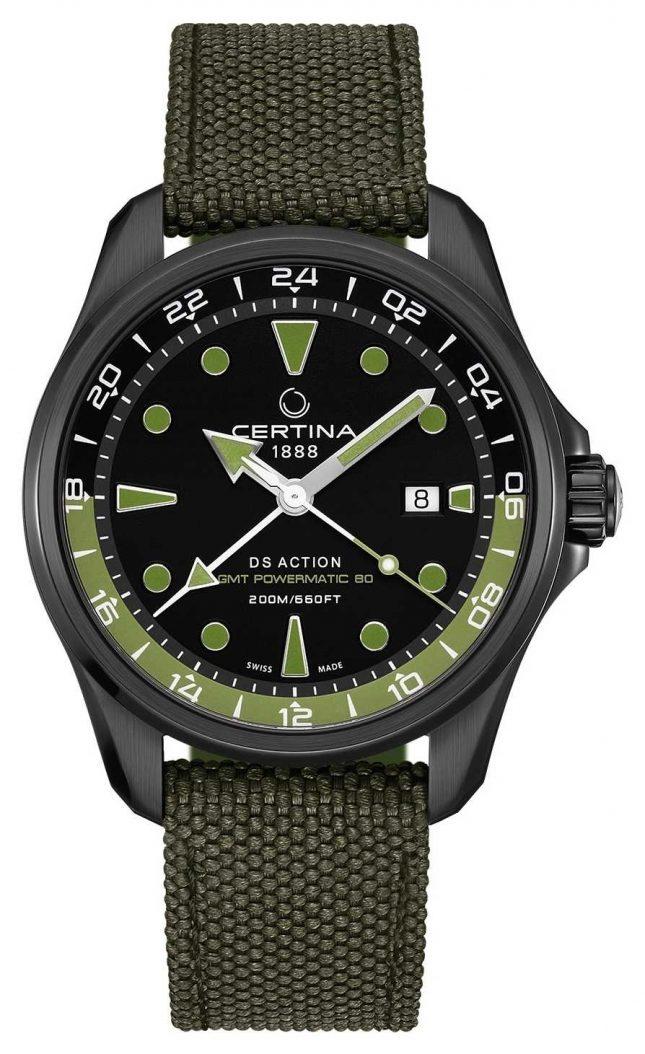 Certina Mens DS Action GMT Powermatic 80 Green Strap Black Dial C0324293805100