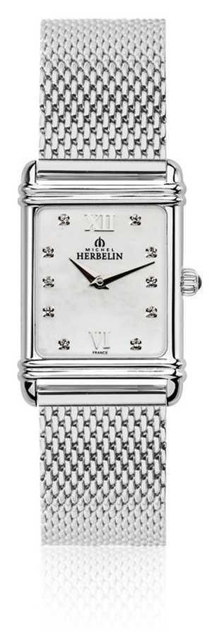 Michel Herbelin Women's Esprit Art Deco Steel Mesh Mother Of Pearl Dial 17478/59BM