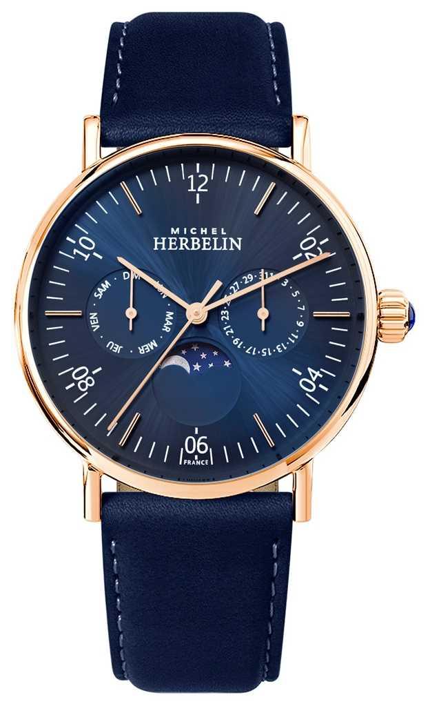 Michel Herbelin Mens Montre Inspiration Moonphase Blue Dial Blue Strap 12747/PR15BL