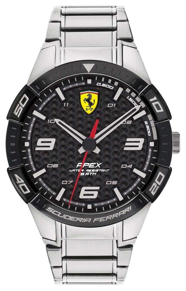 Scuderia Ferrari   Men's Apex   Stainless Steel Bracelet   Black Dial   0830641