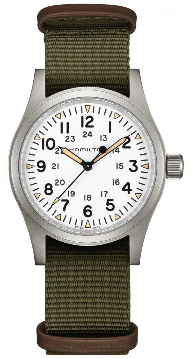 Hamilton | Khaki Field Mechanical | White Dial | Green Strap | H69439411