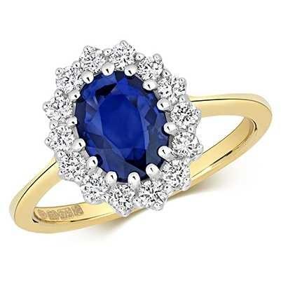 Treasure House 9k Yellow Gold Diamond Sapphire Cluster Ring RD280S
