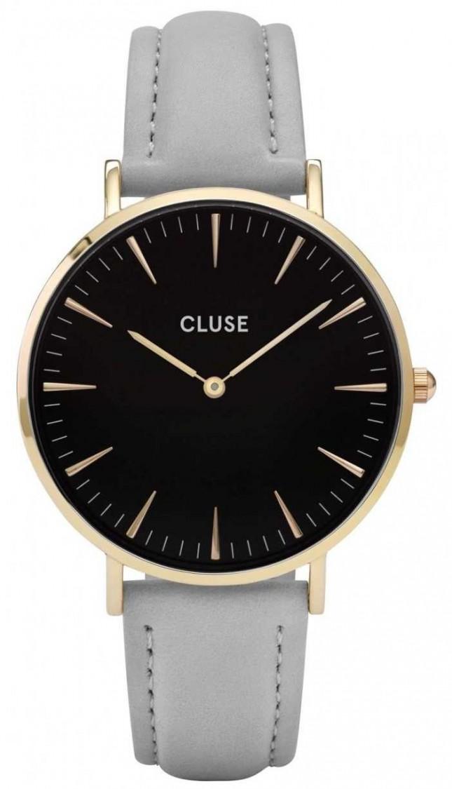 CLUSE | La Bohème | Grey Leather Strap | Black Dial | Gold Case | CL18411