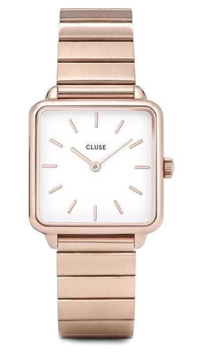 CLUSE | La Tétragone | Single Link Rose Gold Bracelet | White Dial CW0101207023