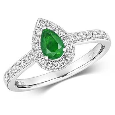 Treasure House 9k White Gold Pear Emerald Diamond Cluster Ring RD418WE