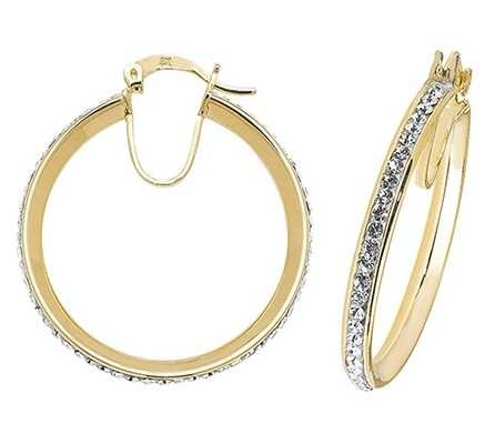 Treasure House 9k Yellow Gold Crystal Hoop Earrings 25 mm ER973-25