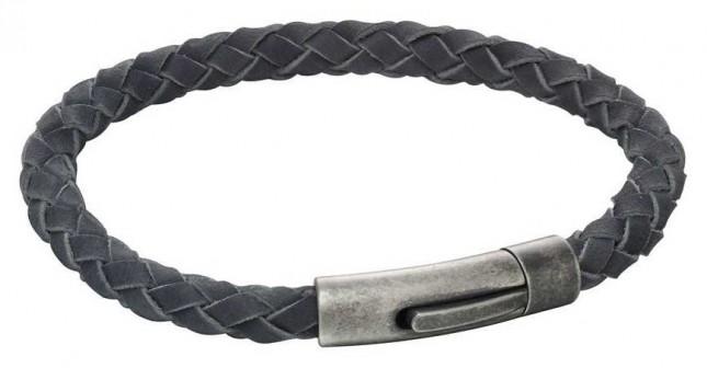 Fred Bennett Mens Grey Suede Bracelet Antique Steel Clasp B5167
