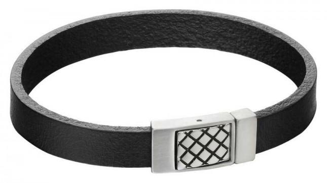 Fred Bennett Mens Criss Cross Steel Clasp Black Leather Bracelet B5164
