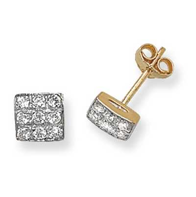 James Moore TH 9k Yellow Gold Square Cubic Zirconia Stud Earrings ES287