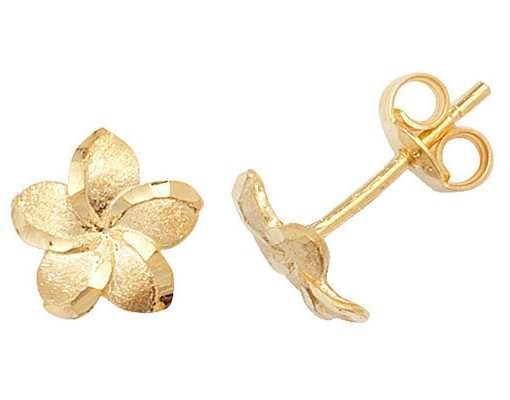 Treasure House 9k Yellow Gold Flower Stud Earrings ES325