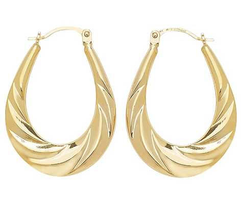 James Moore TH 9k Yellow Gold Creole Twist Hoop Earrings ER828