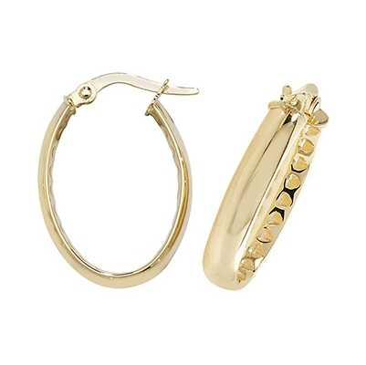 Treasure House 9k Yellow Gold Oval Hoop Earrings ER1054