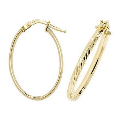 Treasure House 9k Yellow Gold Oval Hoop Earrings ER1042-V3