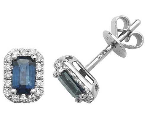 James Moore TH 9k White Gold Octagon Sapphire Diamond Stud Earrings ED251WS