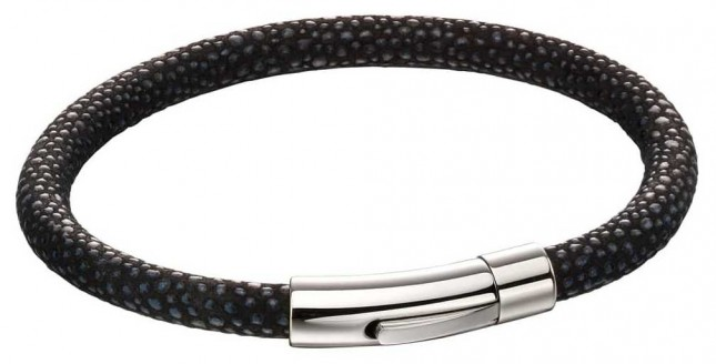 Fred Bennett Mens Black Leather Bracelet with Blue Texture & Steel Clasp B5136