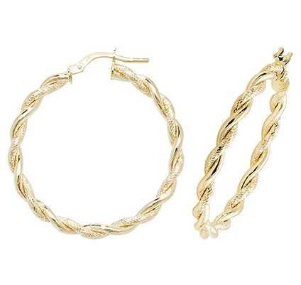 James Moore TH 9k Yellow Gold Hoop Earrings 25 mm ER1045-25